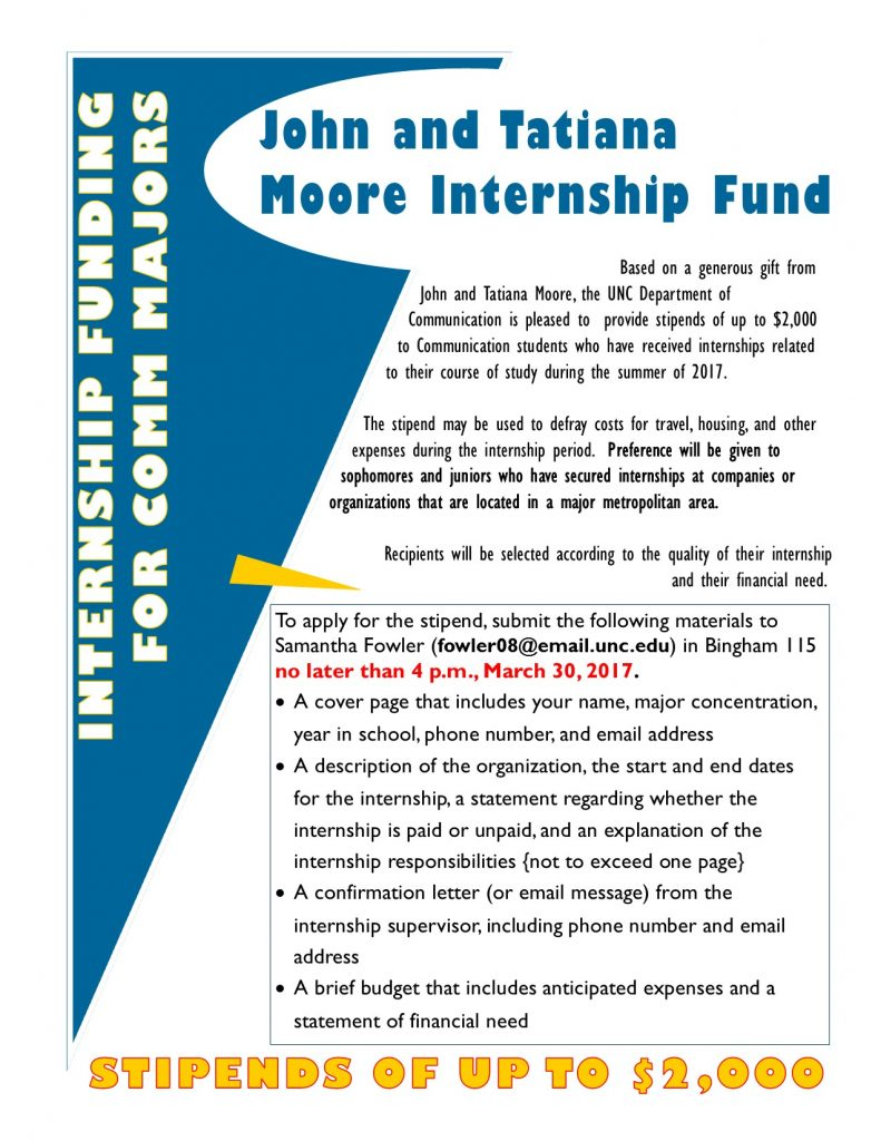Moore Internship Fund Flyer (2017)