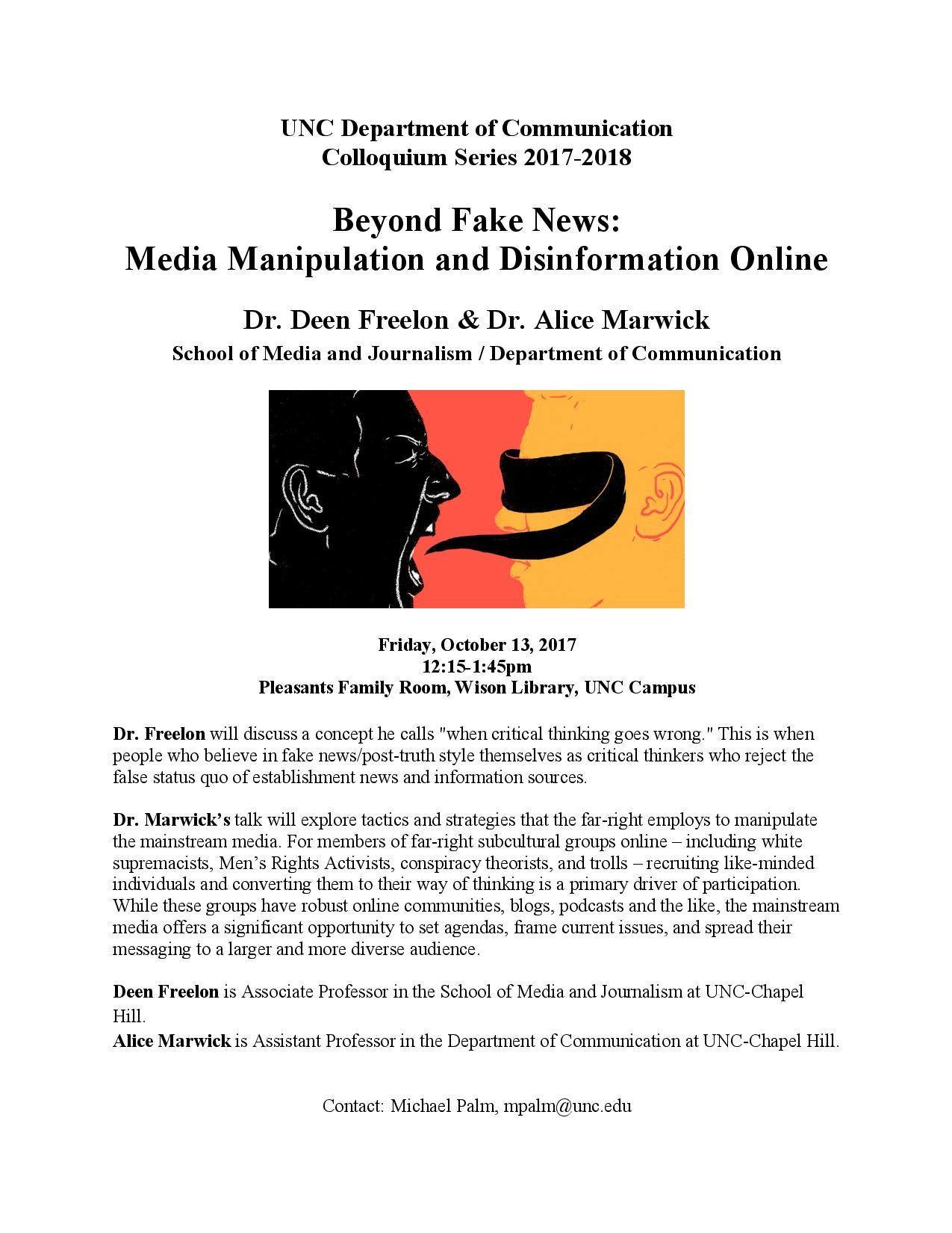 COMM Colloquium Series: Dr  Alice Marwick & Dr  Deen Freelon